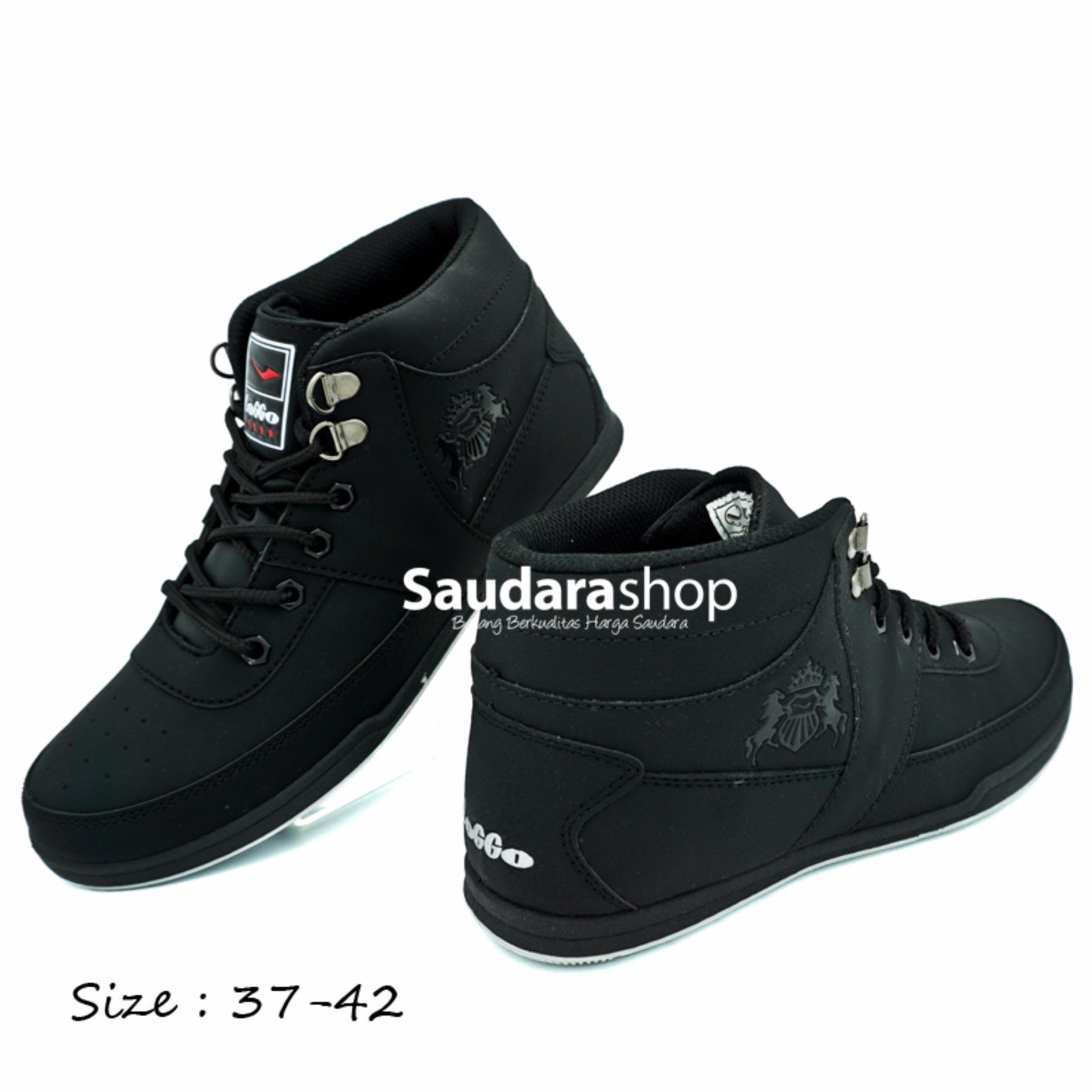 Katalog Loggo Tobia Sepatu Sekolah High All Black 37 42 Sepatu Sekolah Tinggi Loggo Terbaru
